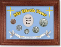 1950 'Children are a Gift from the Lord' My Birth Year Coin Gift Set with a blue background and cherry frame THUMBNAIL
