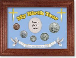 1954 'Children are a Gift from the Lord' My Birth Year Coin Gift Set with a blue background and cherry frame THUMBNAIL