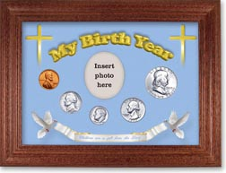 1955 'Children are a Gift from the Lord' My Birth Year Coin Gift Set with a blue background and cherry frame THUMBNAIL