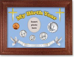 1967 'Children are a Gift from the Lord' My Birth Year Coin Gift Set with a blue background and cherry frame THUMBNAIL