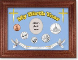 1975 'Children are a Gift from the Lord' My Birth Year Coin Gift Set with a blue background and cherry frame THUMBNAIL