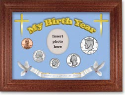 1982 'Children are a Gift from the Lord' My Birth Year Coin Gift Set with a blue background and cherry frame THUMBNAIL