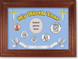 1983 'Children are a Gift from the Lord' My Birth Year Coin Gift Set with a blue background and cherry frame THUMBNAIL