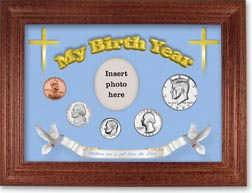 1985 'Children are a Gift from the Lord' My Birth Year Coin Gift Set with a blue background and cherry frame THUMBNAIL