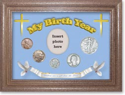 1936 'Children are a Gift from the Lord' My Birth Year Coin Gift Set with a blue background and dark oak frame THUMBNAIL