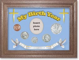 1938 'Children are a Gift from the Lord' My Birth Year Coin Gift Set with a blue background and dark oak frame THUMBNAIL