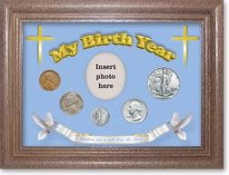 1940 'Children are a Gift from the Lord' My Birth Year Coin Gift Set with a blue background and dark oak frame THUMBNAIL