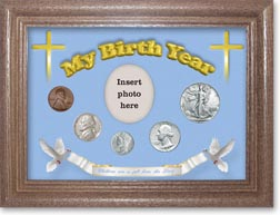 1941 'Children are a Gift from the Lord' My Birth Year Coin Gift Set with a blue background and dark oak frame THUMBNAIL
