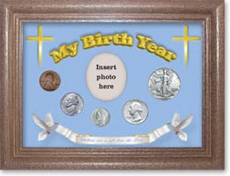 1942 'Children are a Gift from the Lord' My Birth Year Coin Gift Set with a blue background and dark oak frame THUMBNAIL