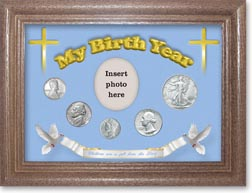1943 'Children are a Gift from the Lord' My Birth Year Coin Gift Set with a blue background and dark oak frame THUMBNAIL