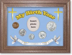 1944 'Children are a Gift from the Lord' My Birth Year Coin Gift Set with a blue background and dark oak frame THUMBNAIL