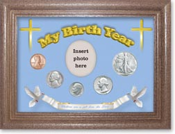1946 'Children are a Gift from the Lord' My Birth Year Coin Gift Set with a blue background and dark oak frame THUMBNAIL