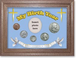 1949 'Children are a Gift from the Lord' My Birth Year Coin Gift Set with a blue background and dark oak frame THUMBNAIL