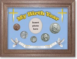 1953 'Children are a Gift from the Lord' My Birth Year Coin Gift Set with a blue background and dark oak frame THUMBNAIL