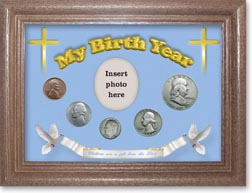 1954 'Children are a Gift from the Lord' My Birth Year Coin Gift Set with a blue background and dark oak frame THUMBNAIL