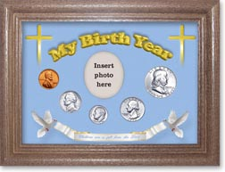 1955 'Children are a Gift from the Lord' My Birth Year Coin Gift Set with a blue background and dark oak frame THUMBNAIL