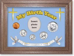 1965 'Children are a Gift from the Lord' My Birth Year Coin Gift Set with a blue background and dark oak frame THUMBNAIL