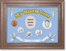 1970 'Children are a Gift from the Lord' My Birth Year Coin Gift Set with a blue background and dark oak frame THUMBNAIL