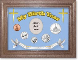 1975 'Children are a Gift from the Lord' My Birth Year Coin Gift Set with a blue background and dark oak frame THUMBNAIL