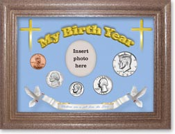 1985 'Children are a Gift from the Lord' My Birth Year Coin Gift Set with a blue background and dark oak frame THUMBNAIL