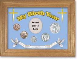 1936 'Children are a Gift from the Lord' My Birth Year Coin Gift Set with a blue background and wheat frame THUMBNAIL