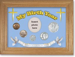 1937 'Children are a Gift from the Lord' My Birth Year Coin Gift Set with a blue background and wheat frame THUMBNAIL