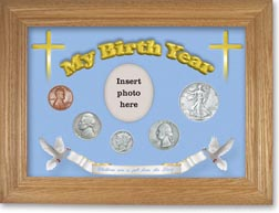 1938 'Children are a Gift from the Lord' My Birth Year Coin Gift Set with a blue background and wheat frame THUMBNAIL