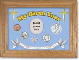 1939 'Children are a Gift from the Lord' My Birth Year Coin Gift Set with a blue background and wheat frame THUMBNAIL
