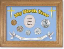 1940 'Children are a Gift from the Lord' My Birth Year Coin Gift Set with a blue background and wheat frame THUMBNAIL
