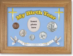 1941 'Children are a Gift from the Lord' My Birth Year Coin Gift Set with a blue background and wheat frame THUMBNAIL