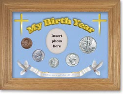 1942 'Children are a Gift from the Lord' My Birth Year Coin Gift Set with a blue background and wheat frame THUMBNAIL