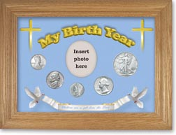 1943 'Children are a Gift from the Lord' My Birth Year Coin Gift Set with a blue background and wheat frame THUMBNAIL