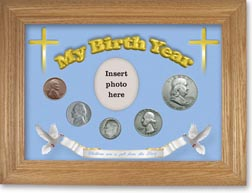 1950 'Children are a Gift from the Lord' My Birth Year Coin Gift Set with a blue background and wheat frame THUMBNAIL