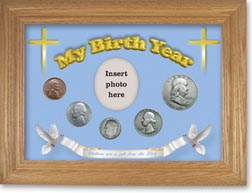 1951 'Children are a Gift from the Lord' My Birth Year Coin Gift Set with a blue background and wheat frame THUMBNAIL