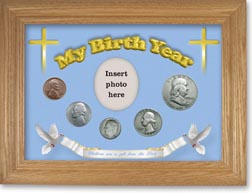 1954 'Children are a Gift from the Lord' My Birth Year Coin Gift Set with a blue background and wheat frame THUMBNAIL