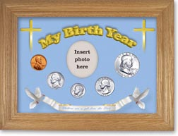 1957 'Children are a Gift from the Lord' My Birth Year Coin Gift Set with a blue background and wheat frame THUMBNAIL