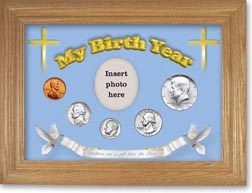 1965 'Children are a Gift from the Lord' My Birth Year Coin Gift Set with a blue background and wheat frame THUMBNAIL