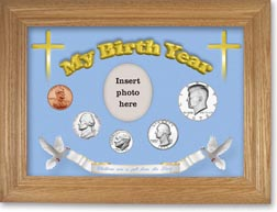 1973 'Children are a Gift from the Lord' My Birth Year Coin Gift Set with a blue background and wheat frame THUMBNAIL