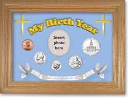 1975 'Children are a Gift from the Lord' My Birth Year Coin Gift Set with a blue background and wheat frame THUMBNAIL