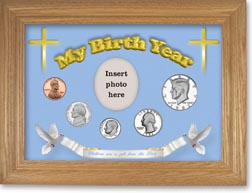 1982 'Children are a Gift from the Lord' My Birth Year Coin Gift Set with a blue background and wheat frame THUMBNAIL