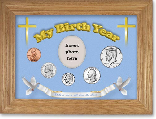 1991 'Children are a Gift from the Lord' My Birth Year Coin Gift Set with a blue background and wheat frame LARGE