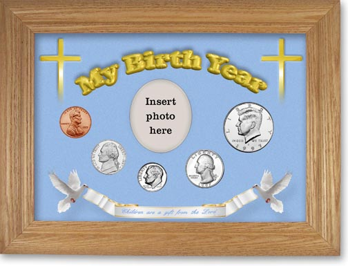 1997 'Children are a Gift from the Lord' My Birth Year Coin Gift Set with a blue background and wheat frame LARGE