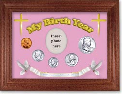 1955 'Children are a Gift from the Lord' My Birth Year Coin Gift Set with a pink background and cherry frame THUMBNAIL