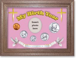 1955 'Children are a Gift from the Lord' My Birth Year Coin Gift Set with a pink background and dark oak frame THUMBNAIL