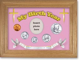1955 'Children are a Gift from the Lord' My Birth Year Coin Gift Set with a pink background and wheat frame THUMBNAIL