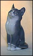 Cat, Plain Grey, Royal Copenhagen Figurine #1803