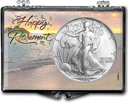 1986 Happy Retirement American Silver Eagle Gift Display LARGE