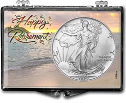 1990 Happy Retirement American Silver Eagle Gift Display THUMBNAIL