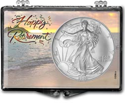 1995 Happy Retirement American Silver Eagle Gift Display THUMBNAIL