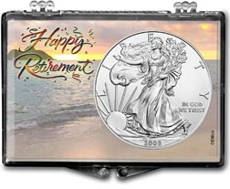 2008 Happy Retirement American Silver Eagle Gift Display THUMBNAIL